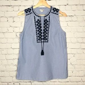 J. Crew Pinstripe Embroidered Sleeveless Top